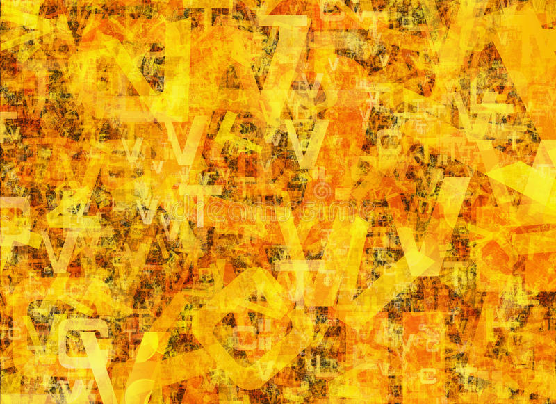 Heap of abstract chaotic alphabet letters. Heap of abstract chaotic orange alphabet letters royalty free illustration