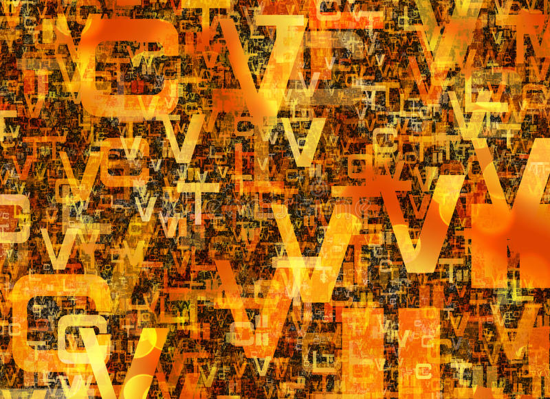 Heap of abstract chaotic orange alphabet letters royalty free illustration