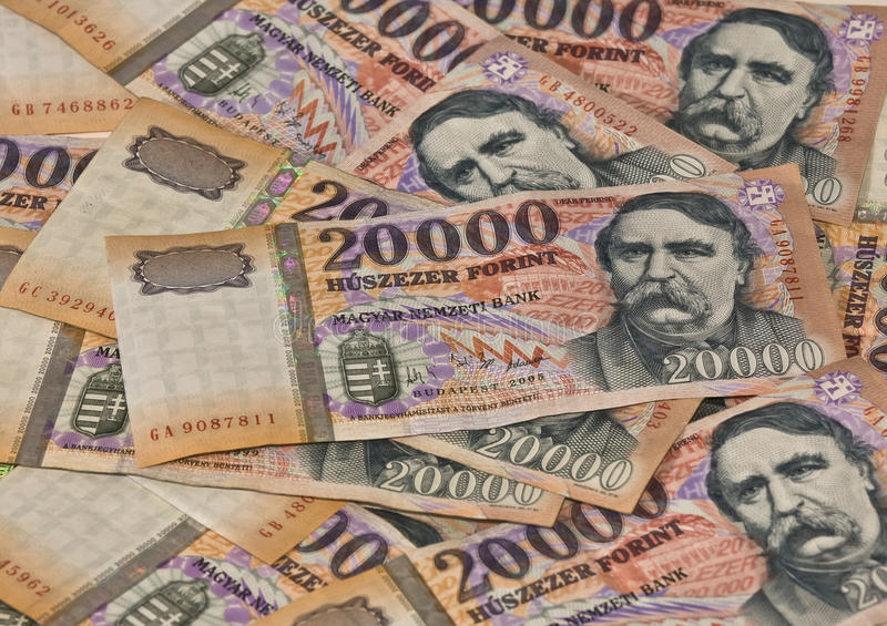 Heap banknotes Hungarian twenty tousend Forint stock images