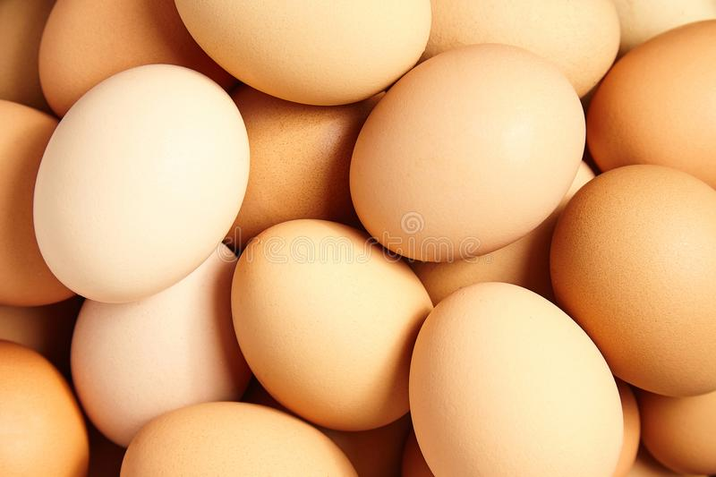 Heap beige chicken eggs. Food background stock images