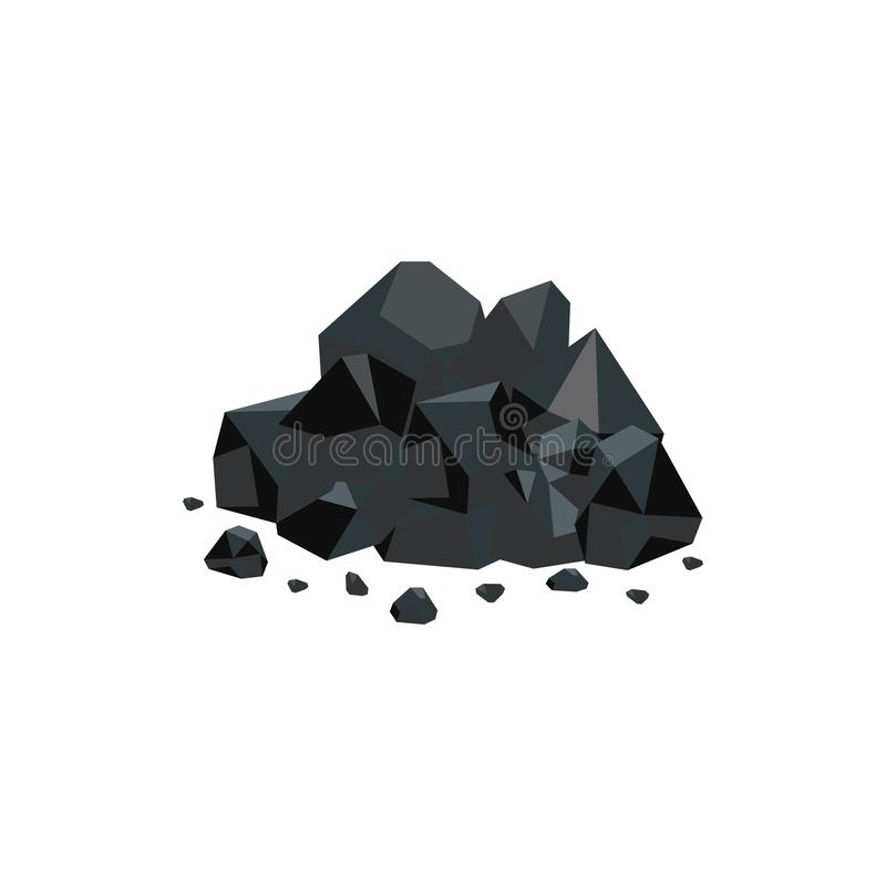 Heap of black coal mineral rocks flat vector isolated on white background. stock illustration