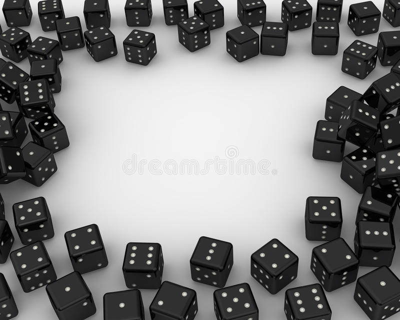 Heap of black dices frame stock illustration