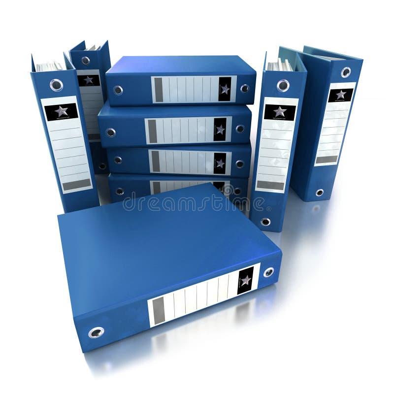 Heap of blue ring binders stock illustration