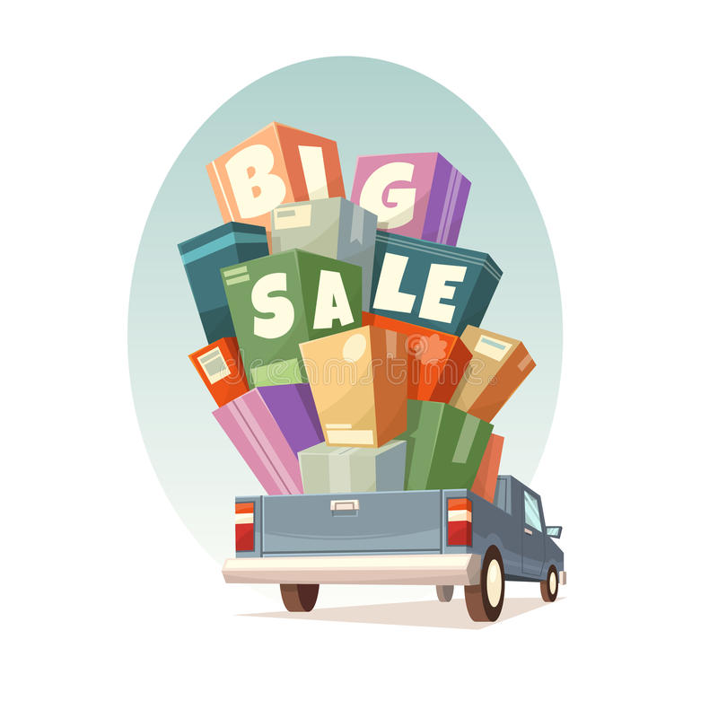 Heap of boxes on pickup with Big Sale text. Vector illustration vector illustration