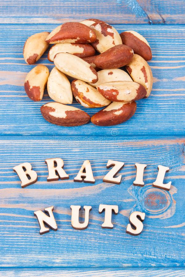 Heap of brazil nuts containing natural minerals and vitamin, health nutrition royalty free stock photos