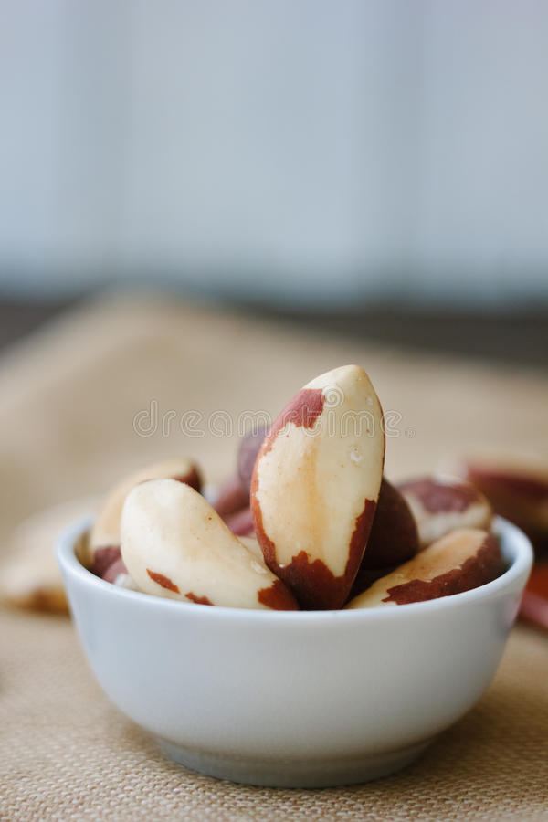 Heap of brazil nuts in white ceramic bowl over the brown fabric. stock photography