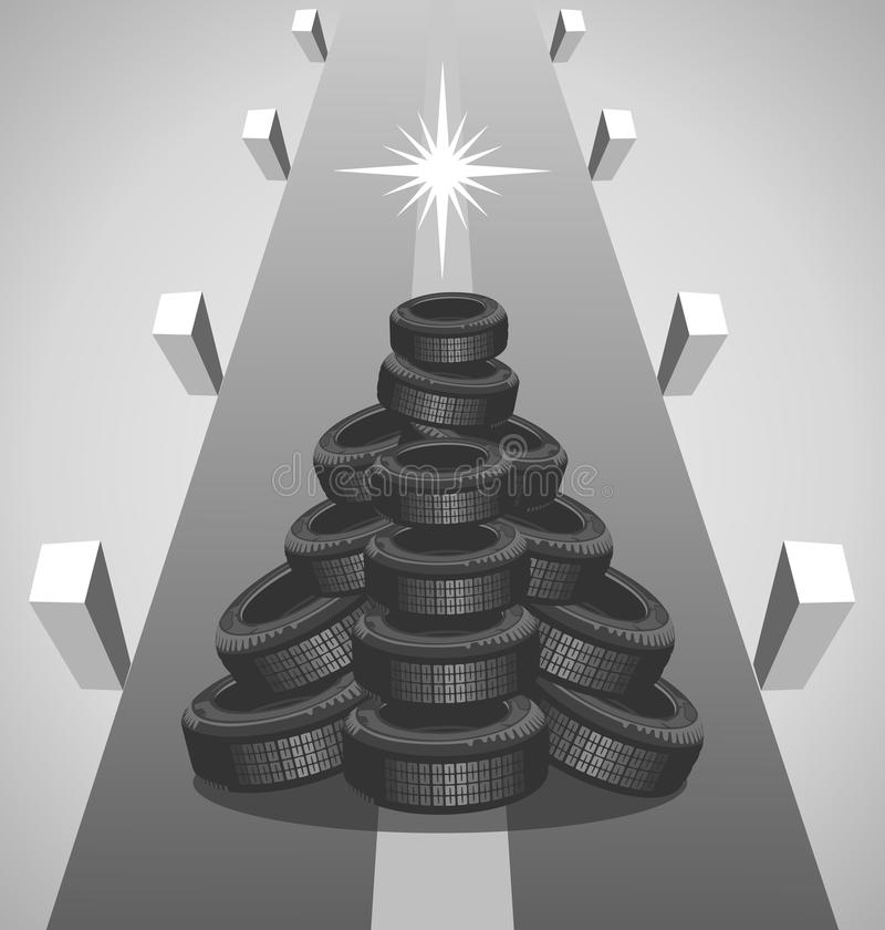 Download Heap Car Tires Like A Christmas Tree Stock Vector - Image: 25347955