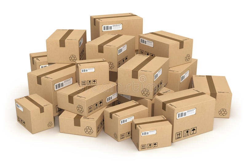 Heap of cardboard boxes royalty free illustration