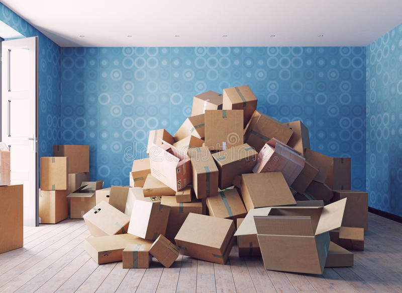 The heap of the cardboard boxes vector illustration