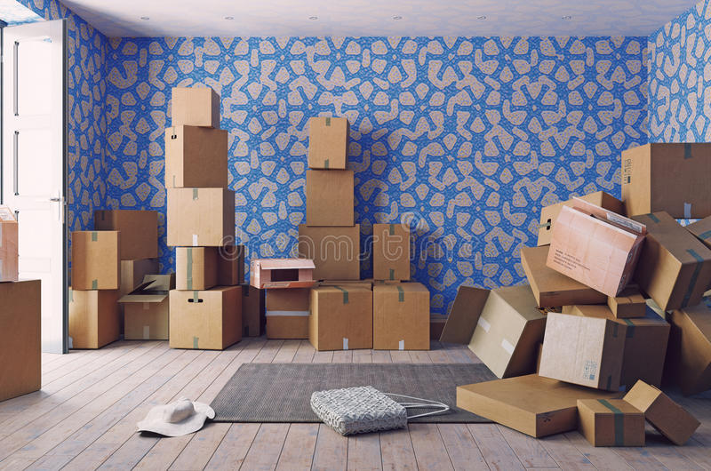 The heap of the cardboard boxes. In the room. 3d concept stock illustration
