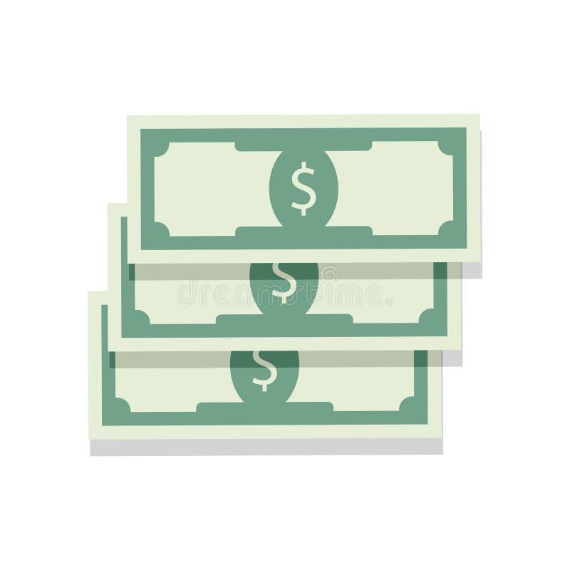 Heap cash money. Investment capitalt, salary money banknote, illustration stock illustration