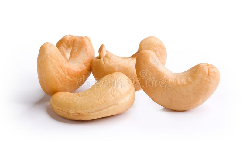 Heap of cashew nuts on white background royalty free stock photo