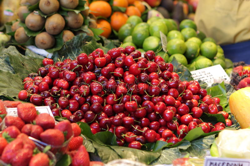 Download Heap of cherries on market stock image. Image of color - 14317199