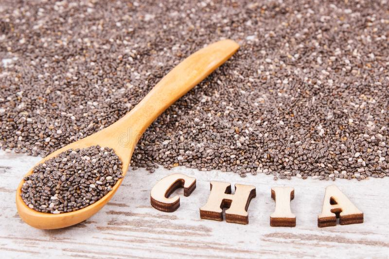 Heap of chia seeds, concept of food containing natural vitamins, fiber and minerals royalty free stock photos