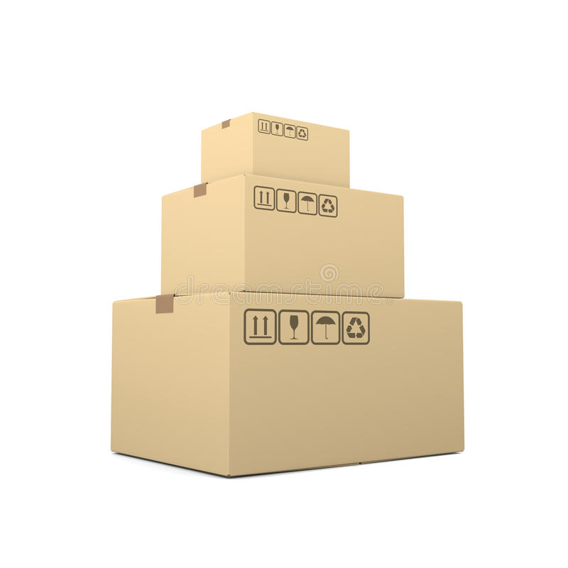 Heap of Closed Cardboard Boxes royalty free illustration