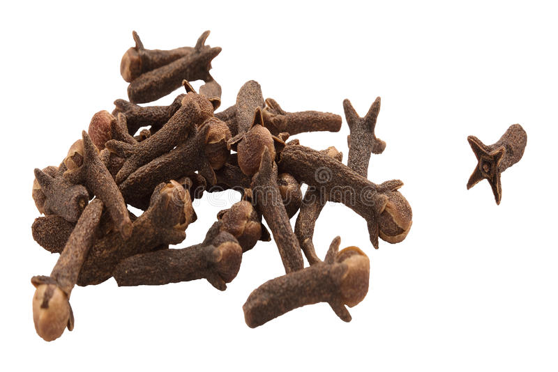 Heap of Cloves isolated on white background. stock photography