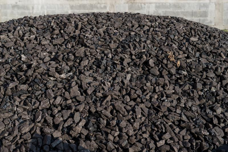 Heap of coal mineral. Mining stock photo
