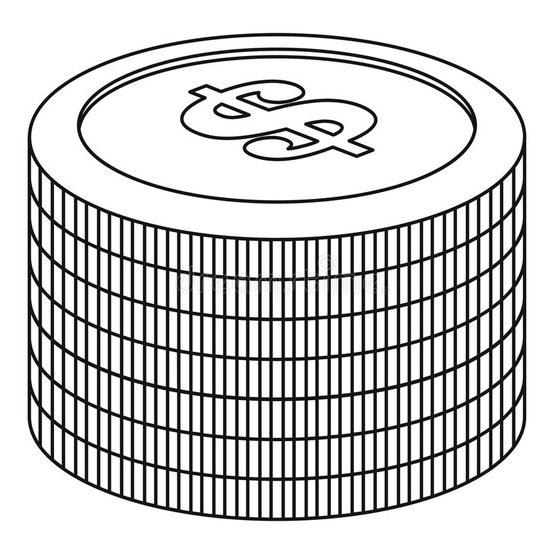 Heap of coin icon, outline style. Heap of coin icon. Outline illustration of heap of coin icon for web stock illustration
