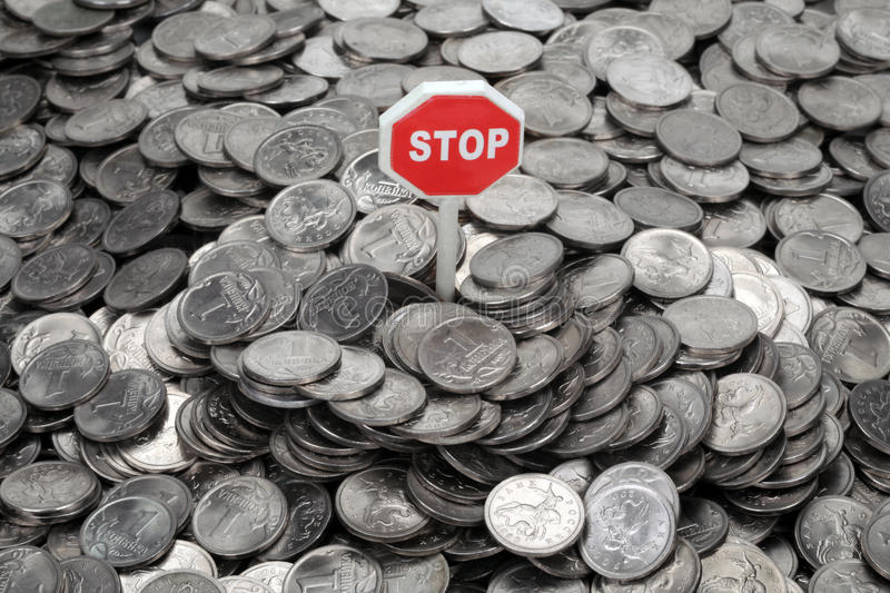 Download Heap Of Coins And Sign Stop Stock Photo - Image: 16278934