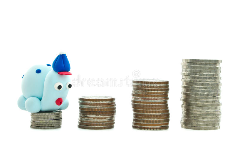 Heap of coins and turtle royalty free stock images