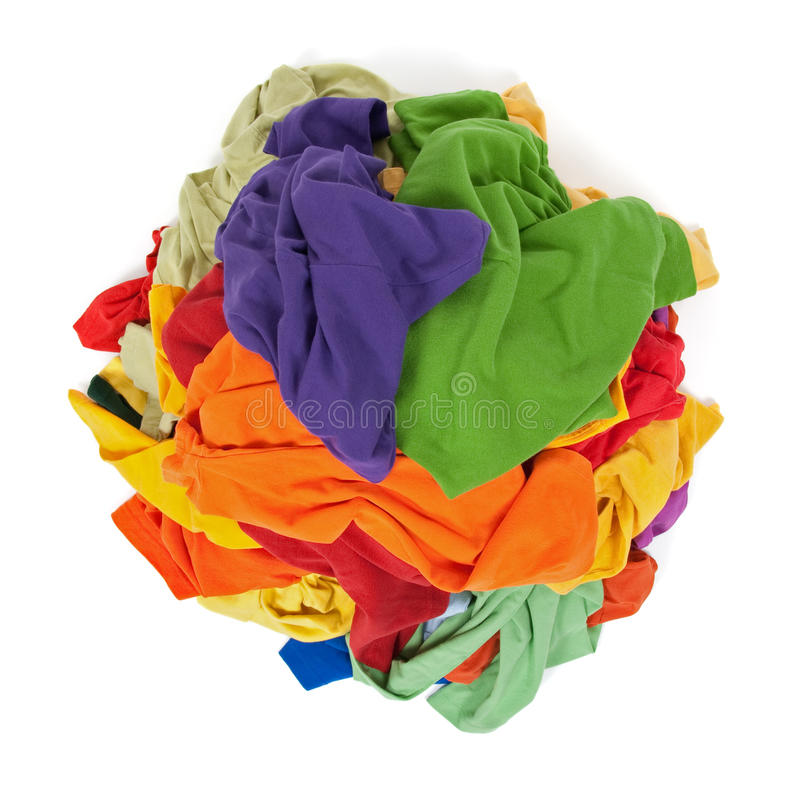 Heap of colorful clothes from above royalty free stock photo