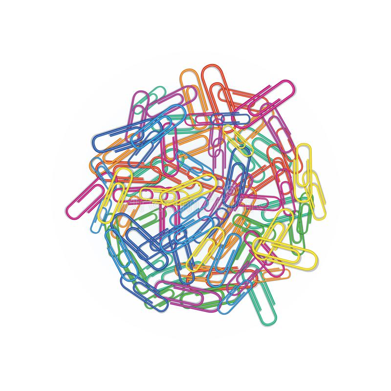 Heap of colorful paper clips in different colors red, green, blue, pink or orange isolated on white background. Design element for vector illustration