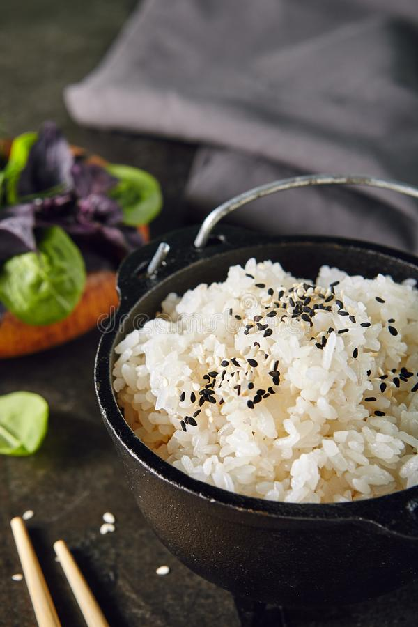 Heap of Cooked Boiled Round White Rice in Metal Bowler stock photos