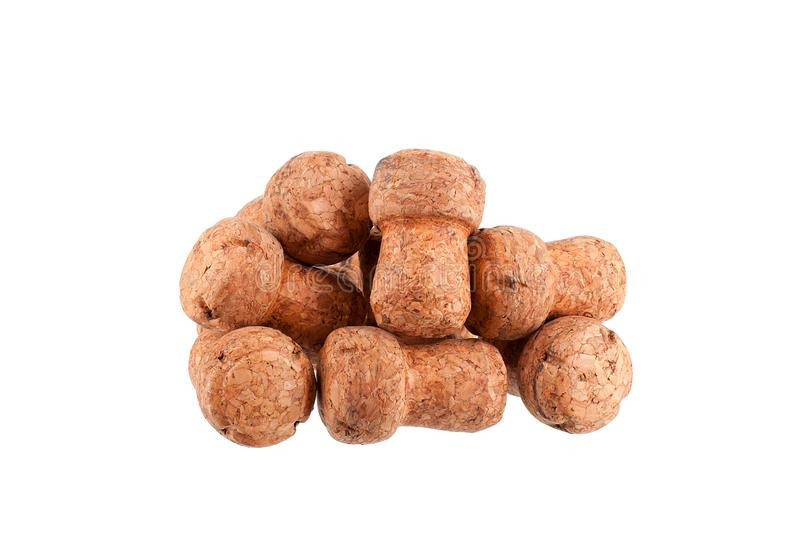 Heap of corks of champagne or sparkling wine bottle on a white background isolated close up studio shot stock photo