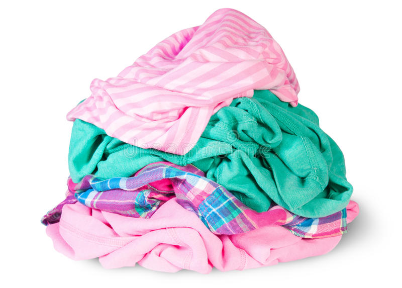 Heap Of Crumpled Clothes. Isolated On White Background royalty free stock photos