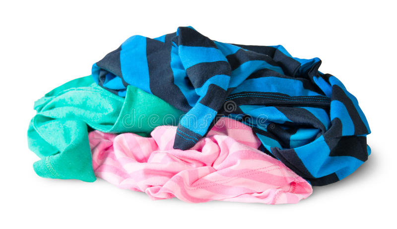 Heap Of Crumpled Colourful Clothes. Isolated On White Background royalty free stock image