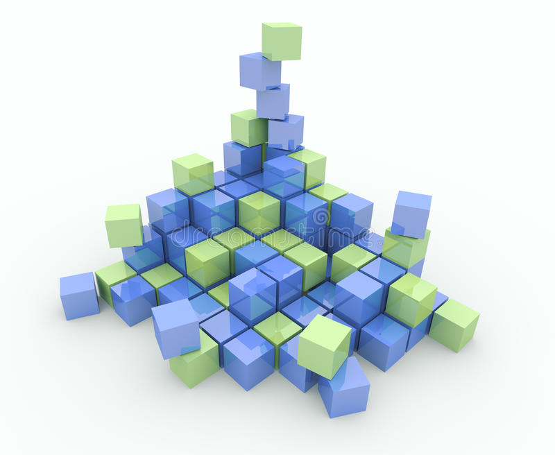 Heap of cubes on a white background. Explosion, destruction stock illustration
