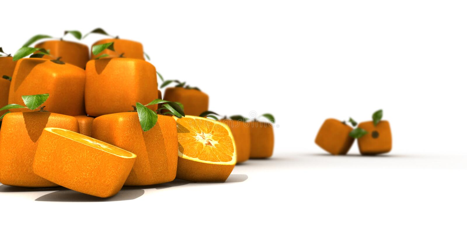 Heap of cubic oranges. On a white background royalty free illustration