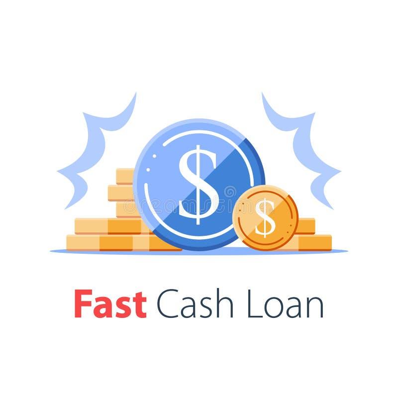 Heap de pièces de monnaie, augmentation des revenus, taux d'intérêt élevé, croissance des revenus, profit budgétaire, collecte de illustration stock
