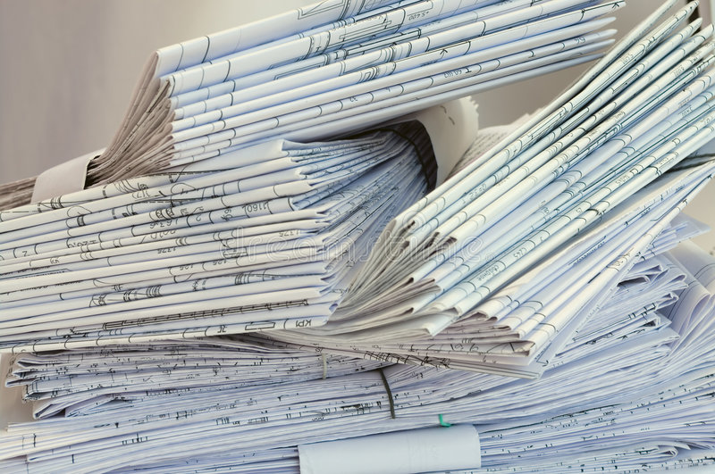 Heap of design and project drawings. stock images