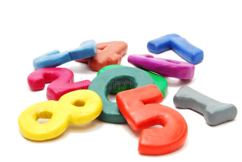 Heap of Digits. Heap of Colored Random Digits Laying on White Background royalty free stock photography