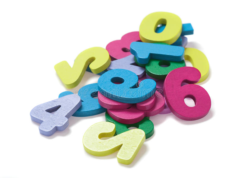 Heap of digits. Pile of digits on white background stock photography