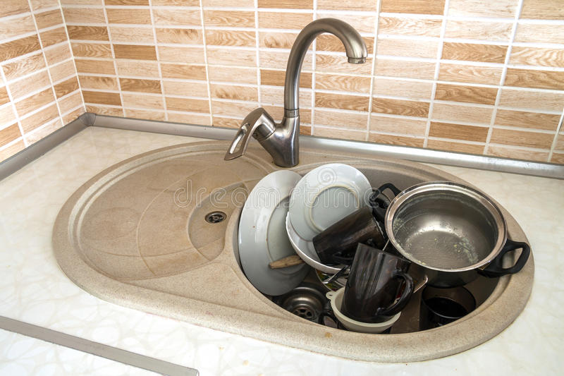 Heap Of Dirty Dishes In The Sink, In The Kitchen, From Above, Wi ...