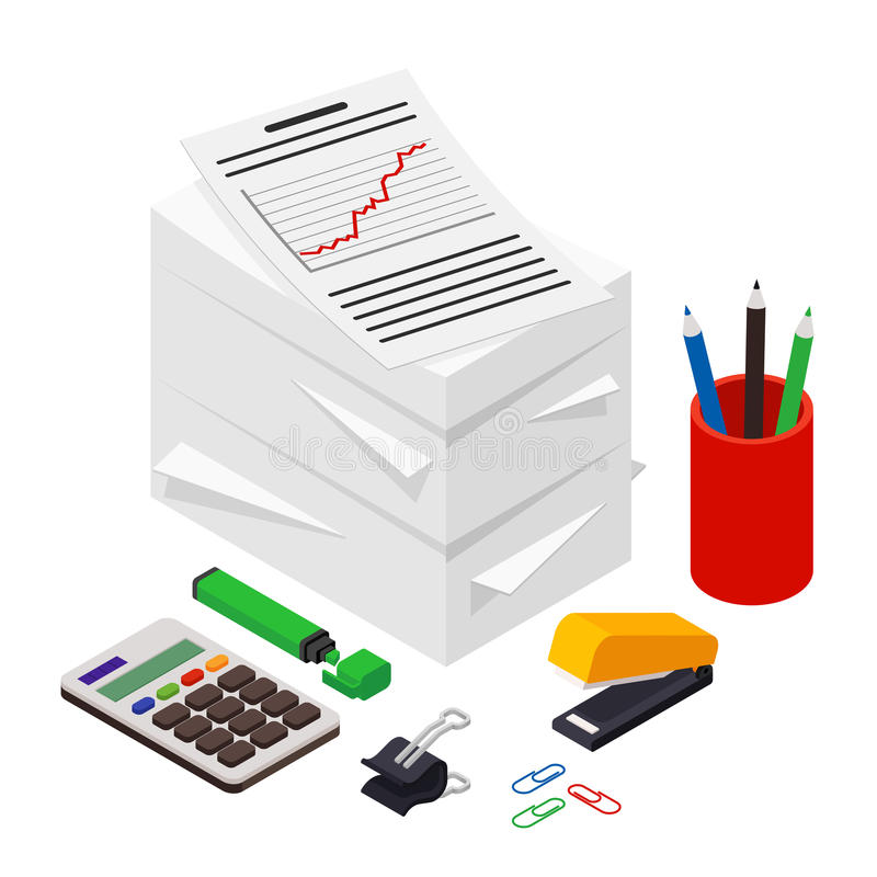 Heap of documents accompanied by pen, pencil and calculator. royalty free illustration