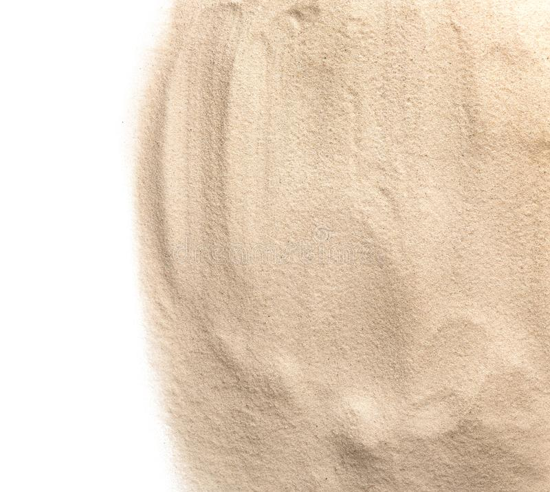 Heap of dry beach sand on white, top view royalty free stock photo