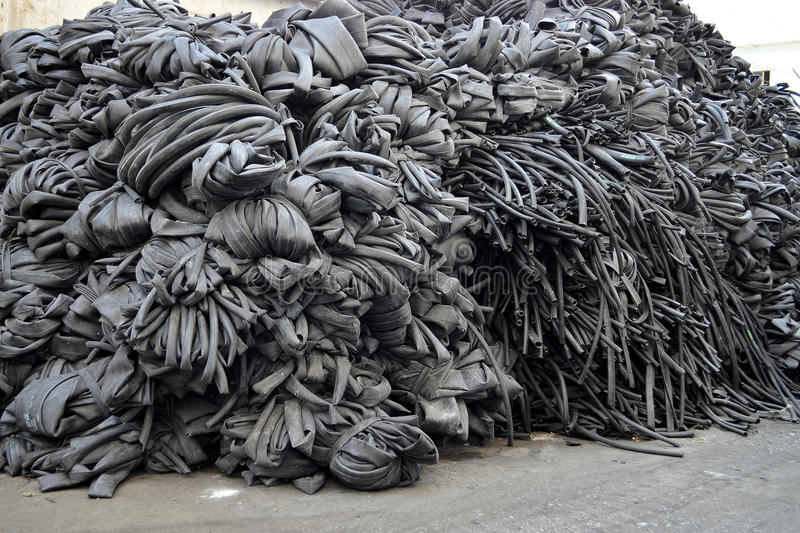Heap of dumped old dirty inner tube royalty free stock photos