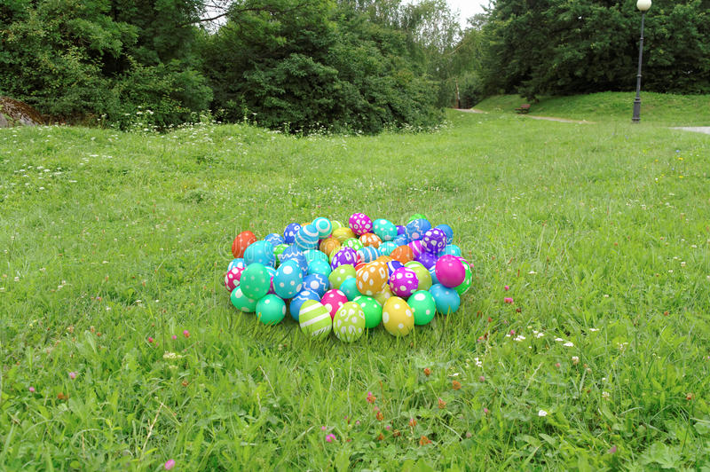 Heap of easter eggs. Heap of colorful easter eggs on the grass royalty free illustration
