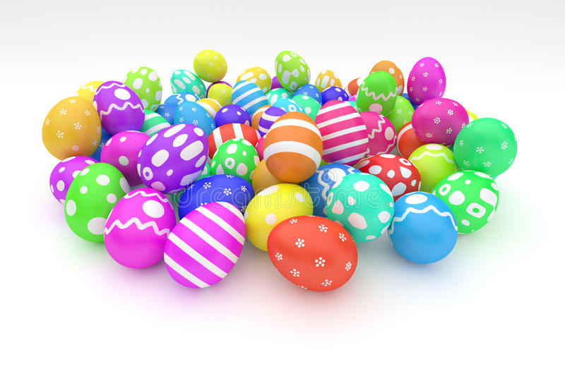Heap of easter eggs. Heap of colorful easter eggs on the white background royalty free illustration