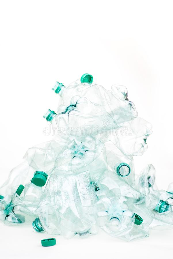 Heap of empty crumpled plastic bottles royalty free stock photos