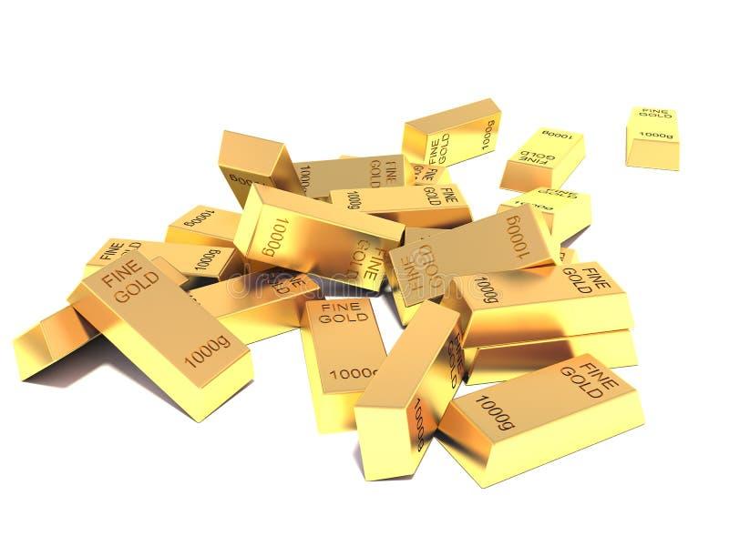 Heap of Flat Golden Bars on white background.  royalty free illustration