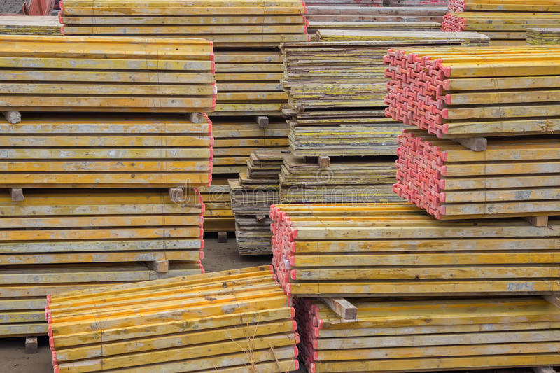 Heap of formwork for a concrete slab. At a construction site royalty free stock image