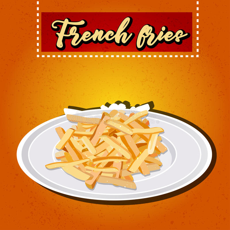 Heap of French fries on a white plate. vector royalty free illustration