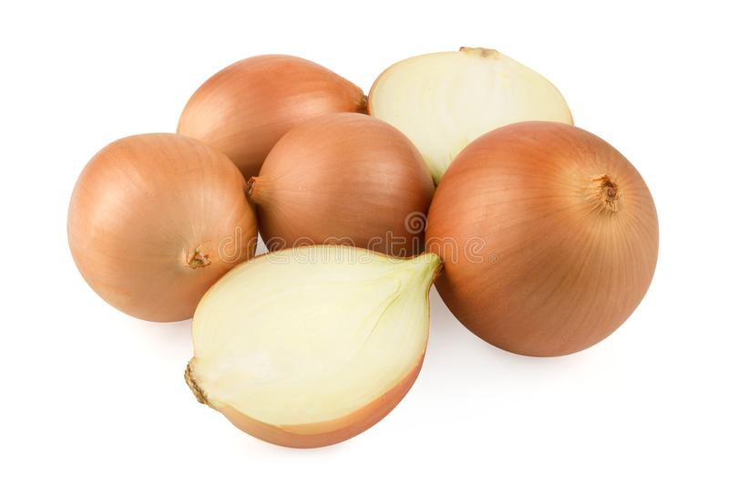 Heap of fresh beige onion bulb isolated on white background. stock photo