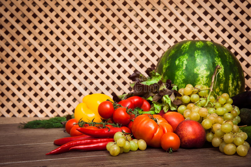 Heap of fresh fruits and vegetables stock photography