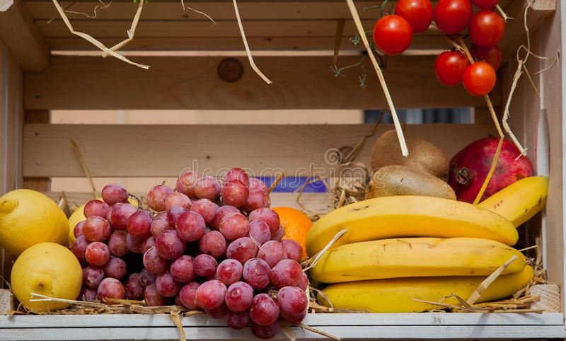 Heap of fresh fruits and vegetables on wooden photo zone on the holiday Thanksgiving stock photos