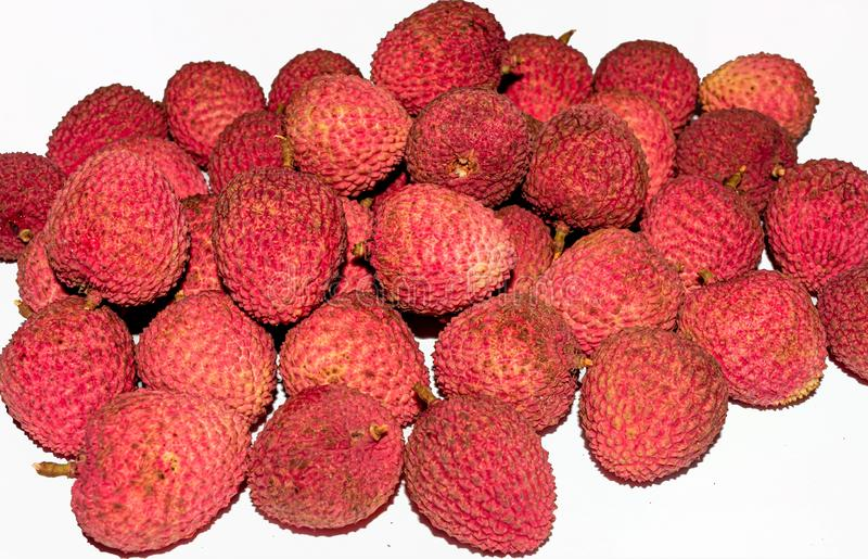 A heap of fresh Lychee on white background royalty free stock photography